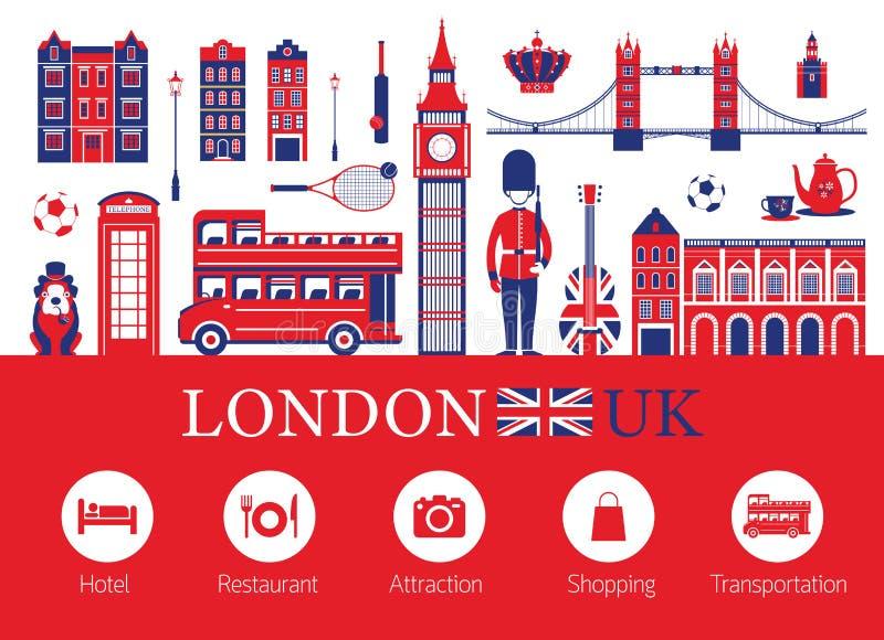 Londres, Inglaterra e iconos del alojamiento del viaje ilustración del vector