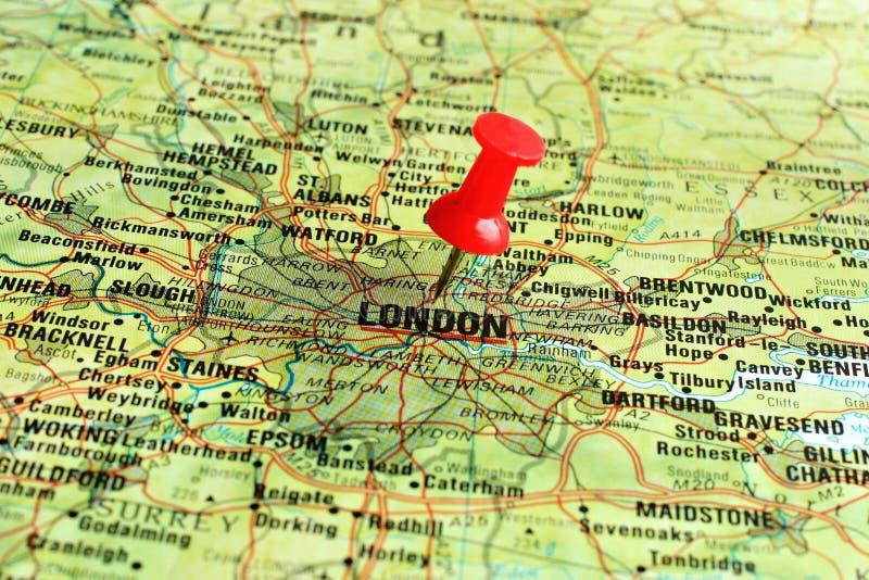 Londres no mapa com ponteiro fotos de stock royalty free