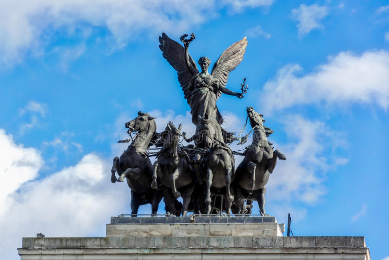 LONDRES - 3 NOVEMBRE : Monument vers Wellington au milieu de Hy photo libre de droits