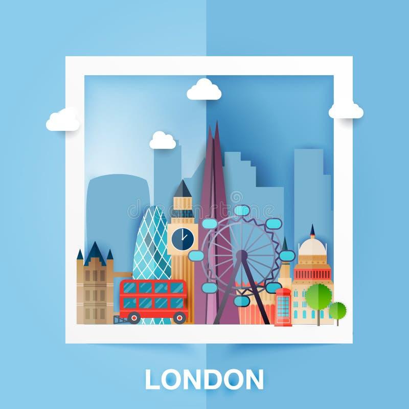 Londres Paisaje del horizonte y del vector de edificios el capital de ilustración del vector