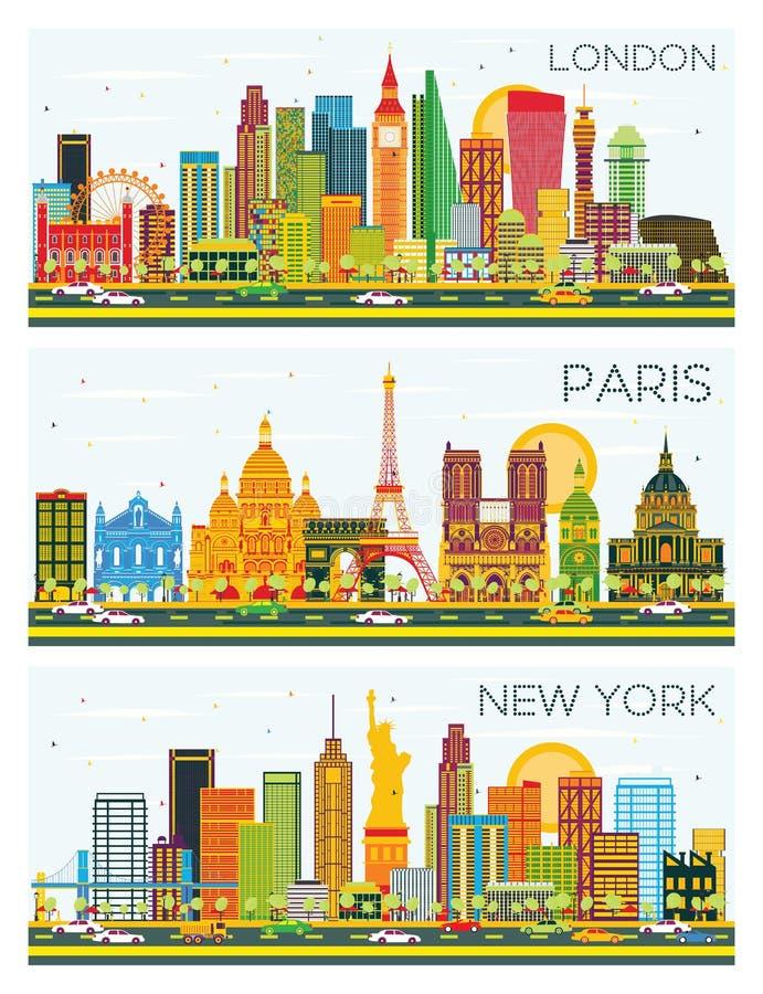 Londres, París, horizonte de Nueva York con los edificios del color y SK azul libre illustration