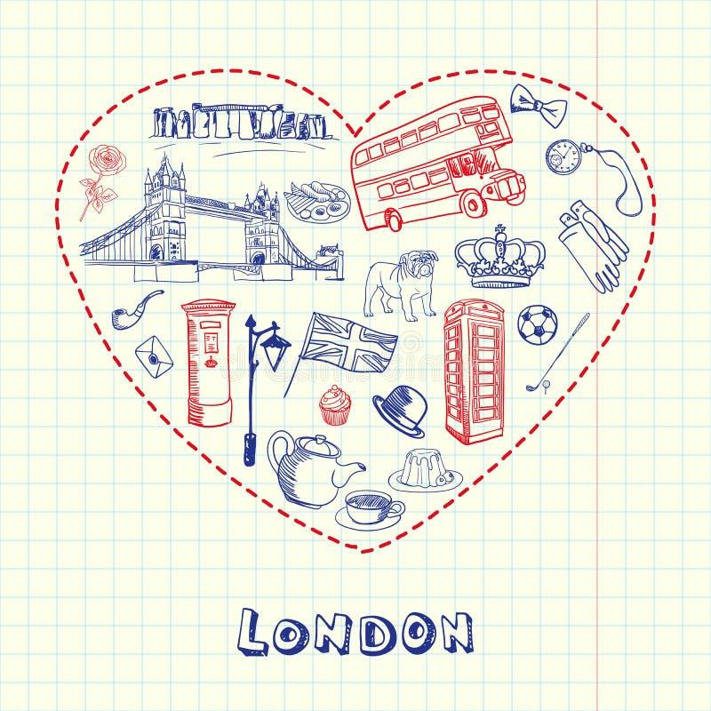 Londres Pen Drawn Doodles Vector Collection stock de ilustración