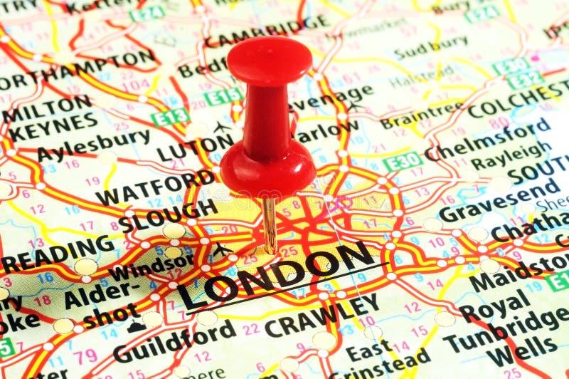 Londres, pino BRITÂNICO do mapa fotografia de stock royalty free