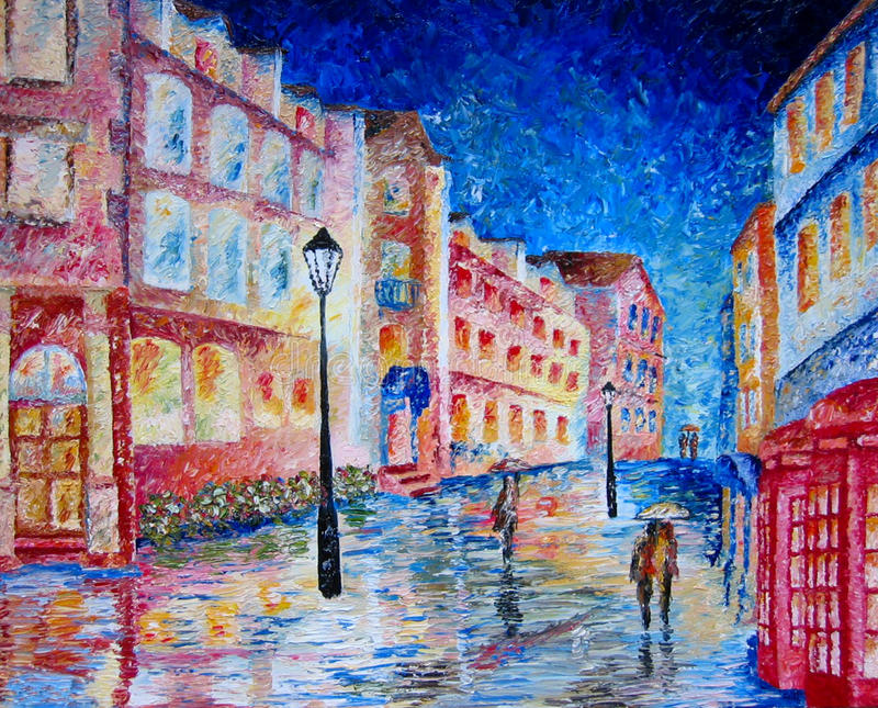 Londres pintou na pintura a óleo colorida. ilustração do vetor