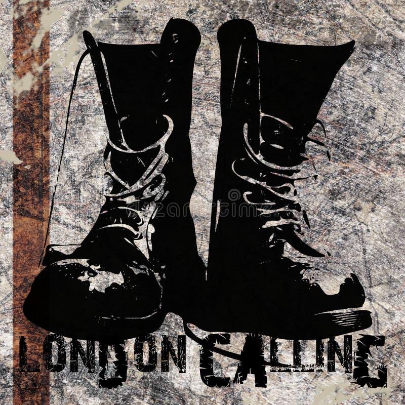Londres que chama botas do Grunge fotografia de stock
