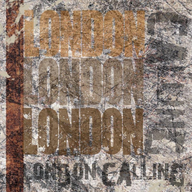 Londres que llama el fondo del Grunge stock de ilustración