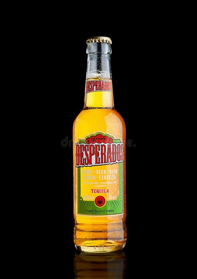 LONDRES, R-U - 15 DÉCEMBRE 2016 : La bouteille de desperados bière, bière blonde allemande assaisonnée avec la tequila est une bi photos stock