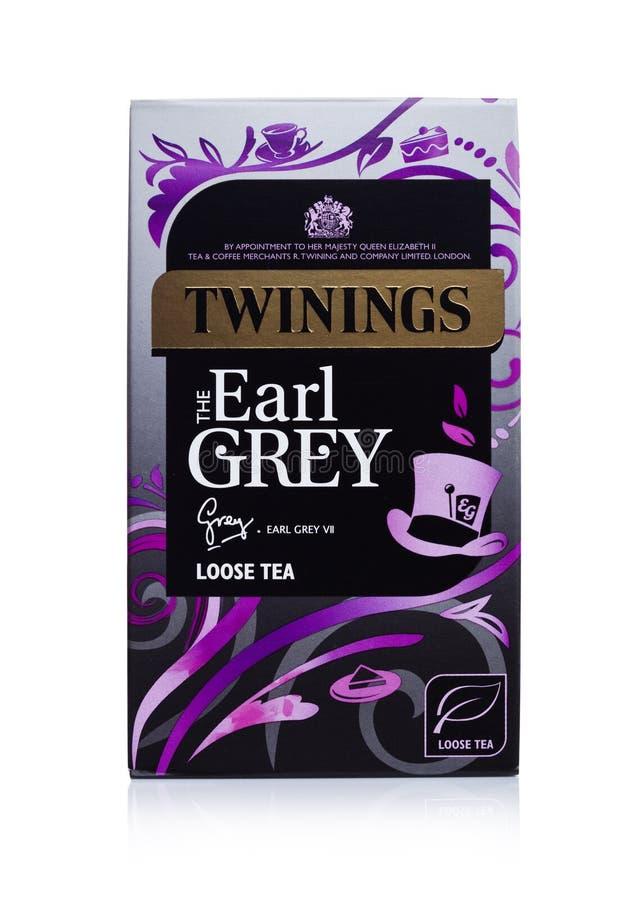LONDRES, R-U - 2 JANVIER 2018 : Paquet de Twinings Earl Grey Tea sur le blanc Twinings a été fondé en 1706 à Londres photo stock