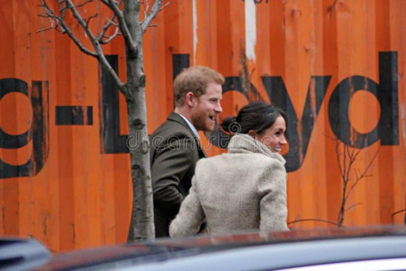 Londres, R-U 9 janvier 2018 Radio de Reprezent de visite de prince Harry et de Meghan Markle à POP Brixton pour voir le travail é photo libre de droits