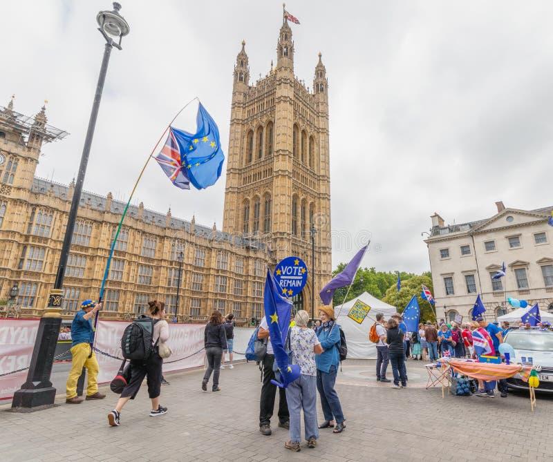 Londres/R-U - 26 juin 2019 - les protestataires Pro-UE portent le vote restent et des drapeaux d'Union européenne en dehors du Pa photo libre de droits