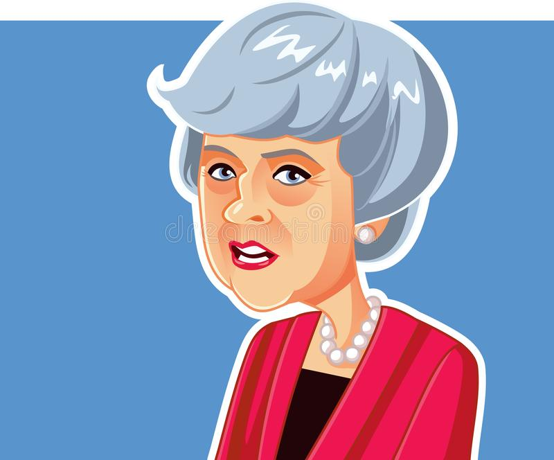 Londres, R-U, le 20 mars 2019, Theresa May Vector Caricature illustration stock