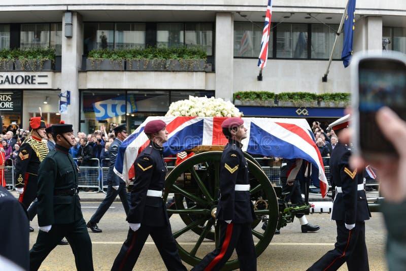 Entierro de baronesa Thatcher fotos de archivo