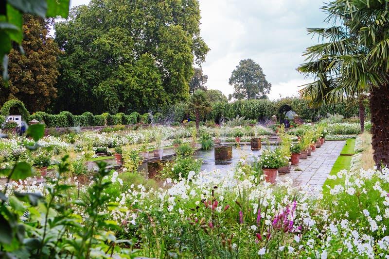 LONDRES, Reino Unido - 18 de agosto de 2017: Jardim do palácio de Kensington fotos de stock