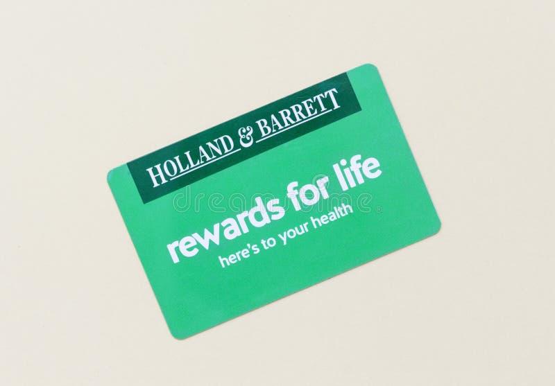 Londres/Reino Unido - 1 de julio de 2019 - tarjeta de las recompensas del cliente de Holanda y de Barrett imagenes de archivo