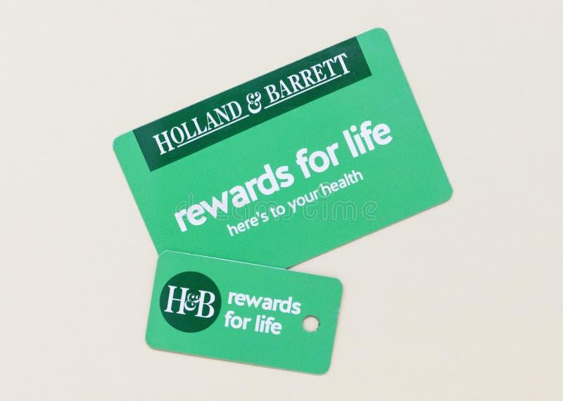 Londres/Reino Unido - 1 de julio de 2019 - tarjeta y llavero de las recompensas del cliente de Holanda y de Barrett fotografía de archivo libre de regalías