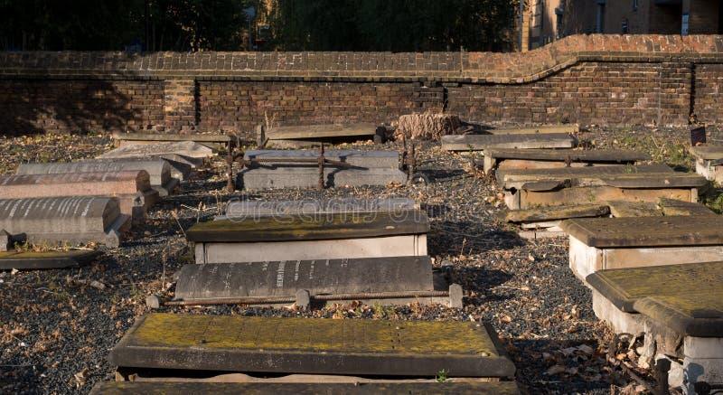 Londres Reino Unido, em agosto de 2018 Novo Cemetery no terreno de Queen Mary, Universidade de Londres Terra de enterro judaica h imagens de stock royalty free