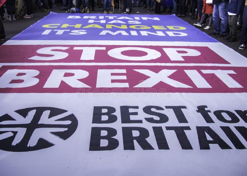 Londres, Reino Unido - f?sforo 23, 2019: Melhor para os campainers sociais de Gr? Bretanha que protestam contra Brexit imagem de stock royalty free
