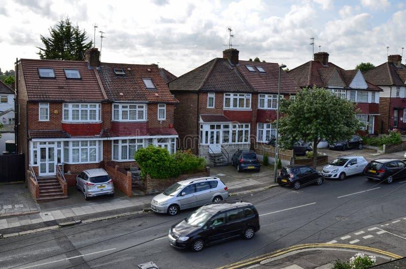 Londres, Reino Unido, junio de 2018 Las casas típicas de Londres fotografía de archivo libre de regalías