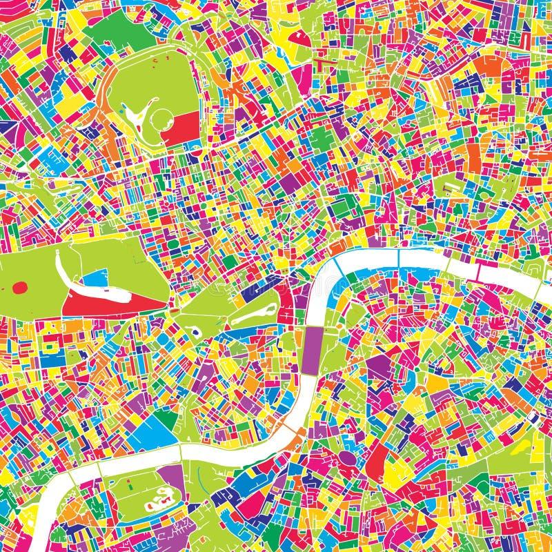 Londres, Reino Unido, mapa colorido del vector stock de ilustración
