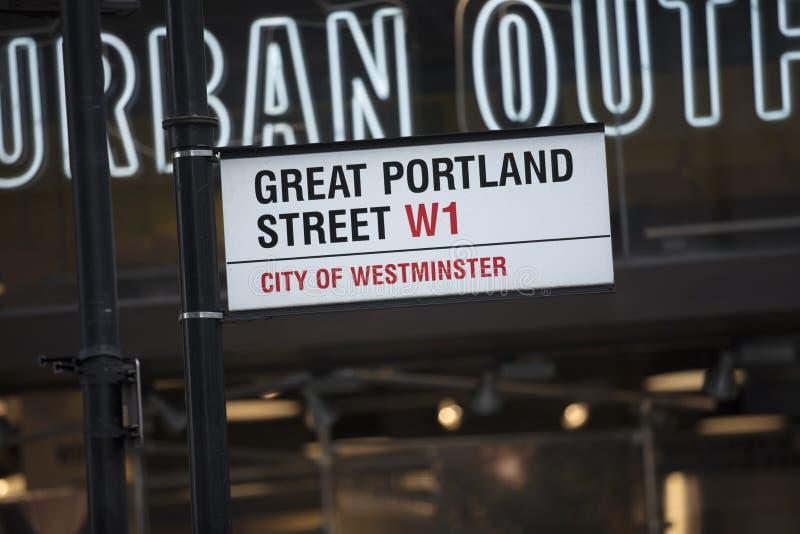 Londres, Reino Unido, o 7 de fevereiro de 2019, sinal para o grande St de Portland fotos de stock