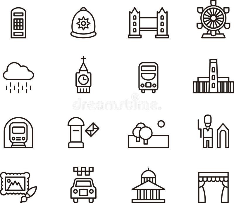 Londres relacionou ícones ilustração royalty free