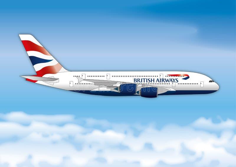 LONDRES, ROYAUME-UNI, ANNÉE 2017, ligne de passager de ligne aérienne de British Airways sur le ciel illustration stock