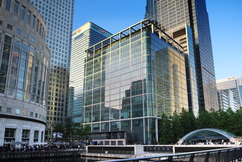 Londres, Royaume-Uni : Le 1er juillet 2019 - soirée de Canary Wharf dans le centre financier de Londres images stock