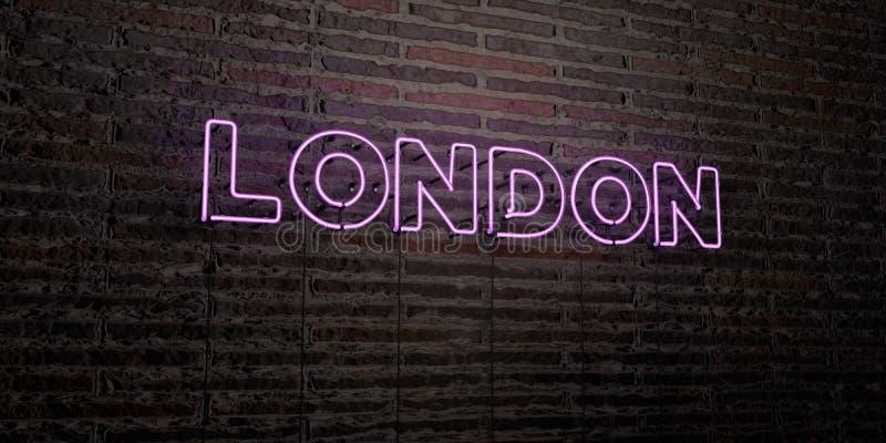 LONDRES - señal de neón realista en fondo de la pared de ladrillo - 3D rindió imagen común libre de los derechos stock de ilustración