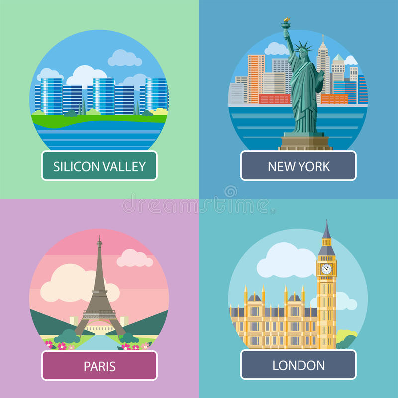 Londres, Silicon Valley, New York et Paris illustration stock