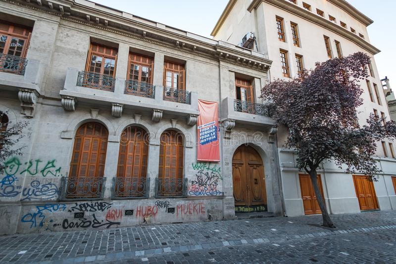 Londres 38, tidigare mitt av försening och tortyr under den chilenska ditactorshipen - Santiago, Chile arkivbild