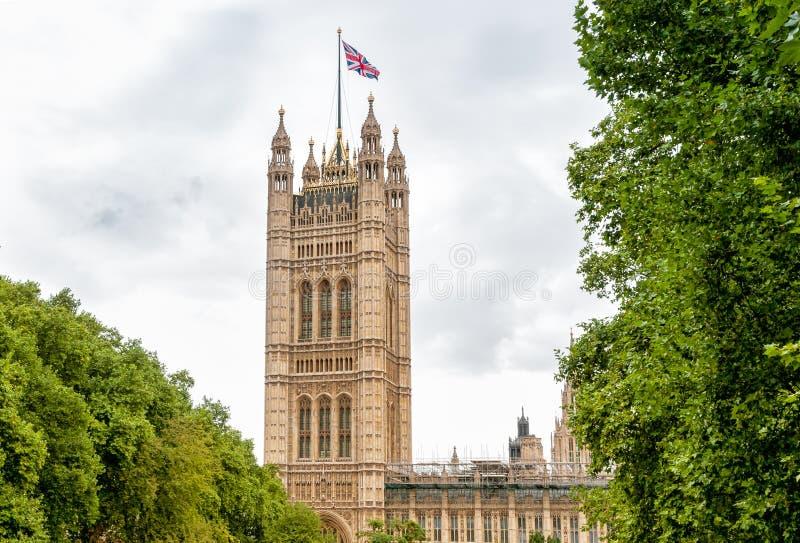 Londres - Victoria Tower, palais de Westminster photos libres de droits