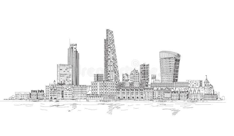 Londres, vue de ville de la Tamise Esquissez le collectionHeart, fond abstrait fait en effet de la lumière électrique illustration libre de droits