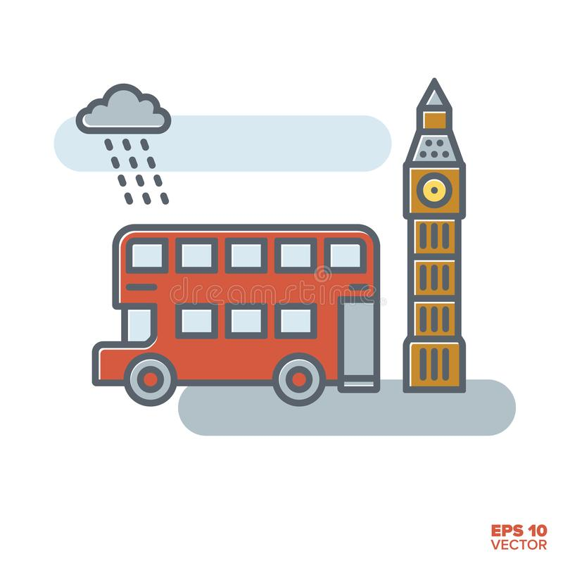 Londyński doubledecker autobus i Big Ben wektor ilustracja royalty ilustracja