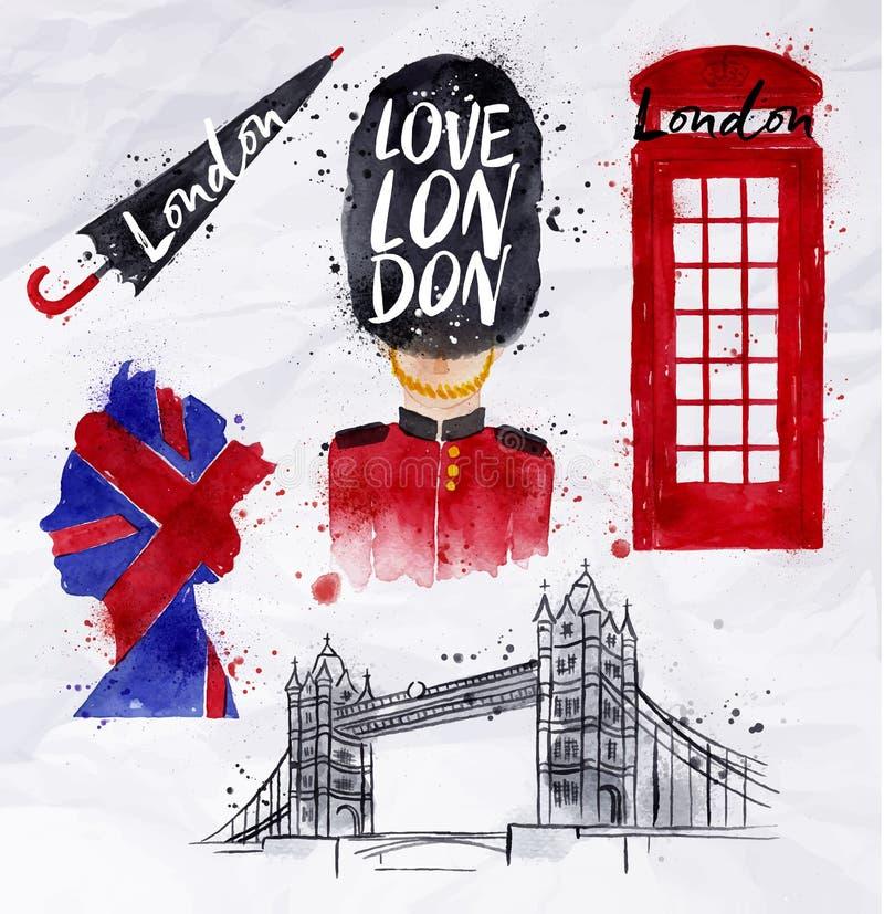 Londyńscy symbole royalty ilustracja