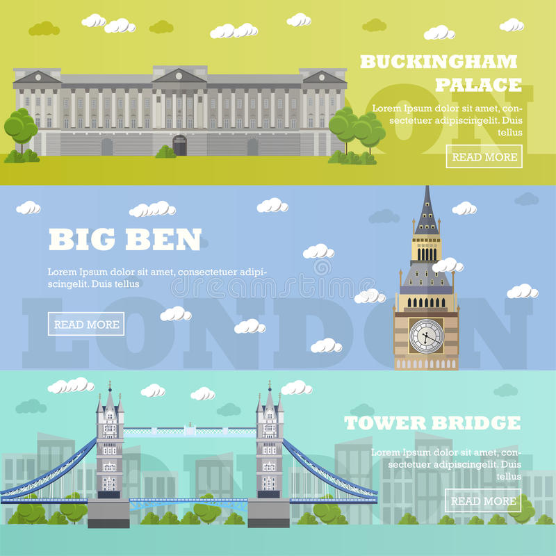 Londyńscy turystyczni punktów zwrotnych sztandary Wektorowa ilustracja z sławnymi budynkami Basztowy most, Big Ben i buckingham p royalty ilustracja