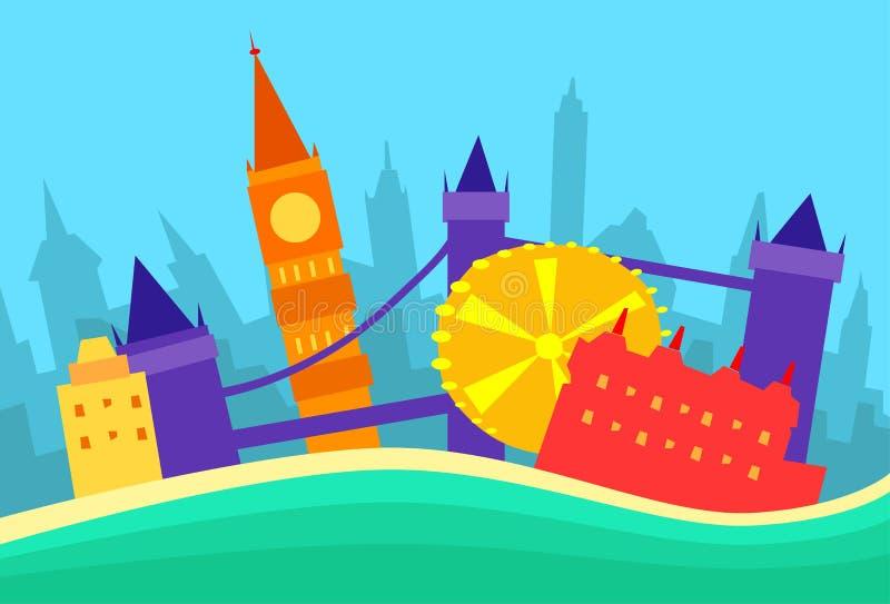Londyńska Abstrakcjonistyczna linii horyzontu miasta drapacza chmur sylwetka royalty ilustracja