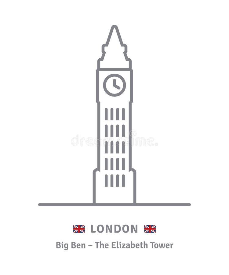 Londyńska ikona z big ben i Wielki Brytania zaznaczamy ilustracji