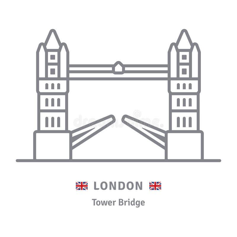 Londyńska ikona z wierza mostem i Brytyjski zaznaczamy royalty ilustracja