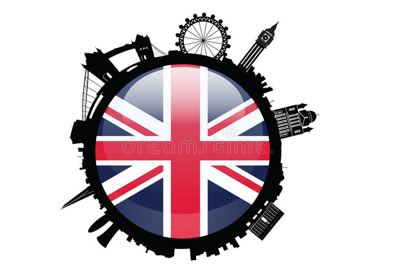 Londyńska linii horyzontu sylwetka z britian flaga ilustracji
