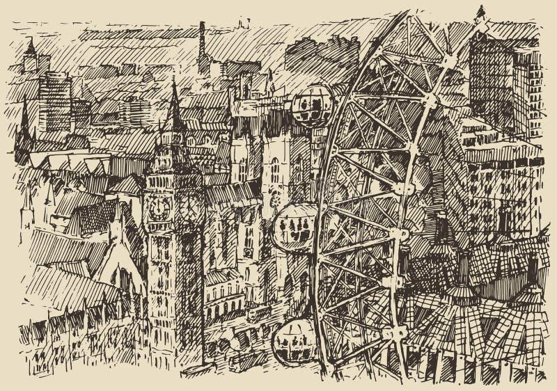 Londyńska ręka rysujący Anglia rocznika nakreślenia wektor ilustracja wektor