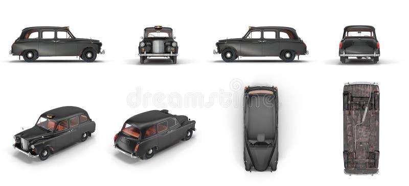 Londyńska taksówka odizolowywająca na białej 3D ilustraci ilustracja wektor