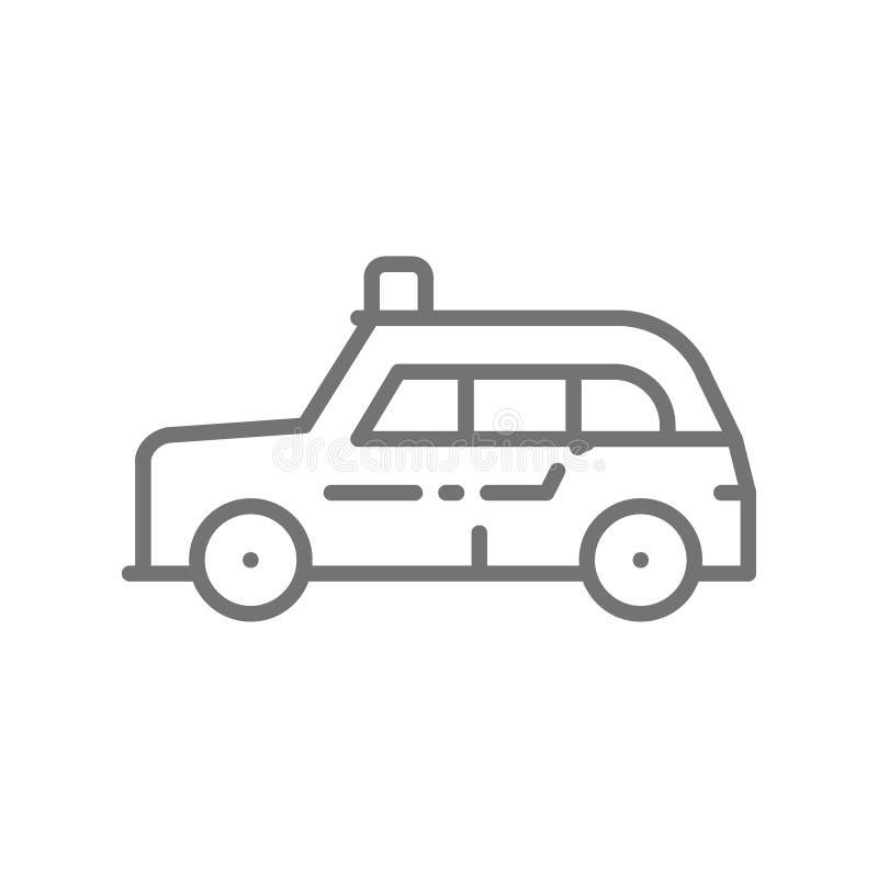 Londyńska taksówka, tradycyjny transport publiczny, taxi kreskowa ikona ilustracja wektor