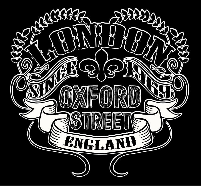 Londyńska typografia, koszulek grafika, wektory royalty ilustracja