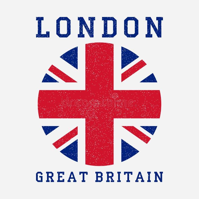 Londyńska typografia z Wielką Brytania flaga Grunge druk dla projekta odziewa, koszulka, odzież wektor royalty ilustracja