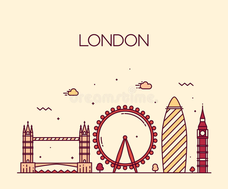 Londyński Anglia kreskowej sztuki Modny ilustracyjny styl royalty ilustracja