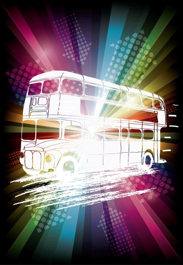 Londyński autobus na tęczy tle ilustracji