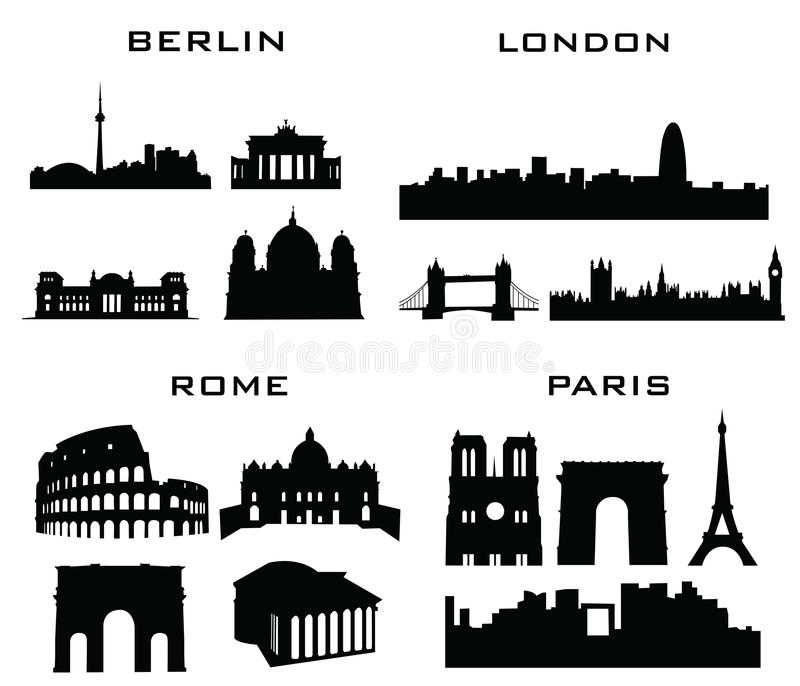 Londyński Berlin Rome Paris ilustracja wektor