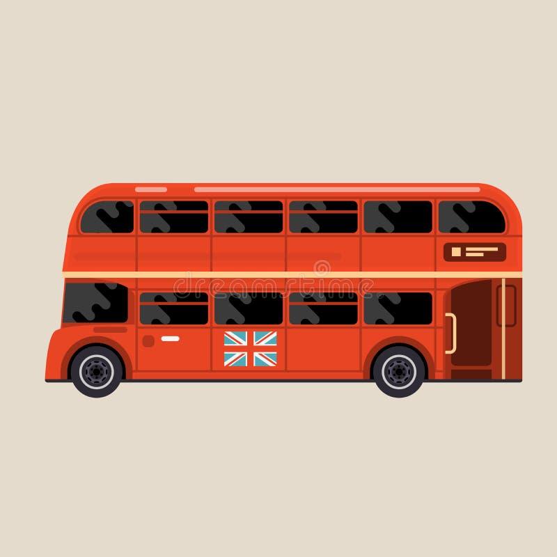 Londyński czerwony autobus - autobusu piętrowego autobusu boczny widok ilustracja wektor