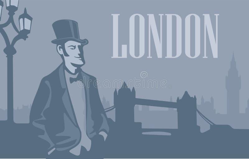 Londyński dżentelmen w kapeluszu na Londyńskiej ulicie royalty ilustracja