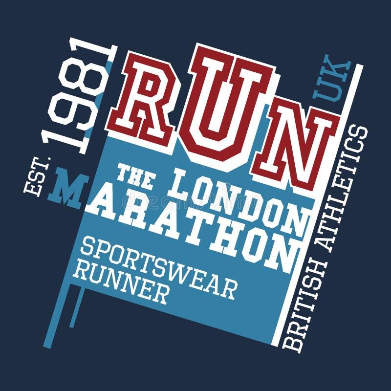 Londyński Maratoński koszulka projekt royalty ilustracja